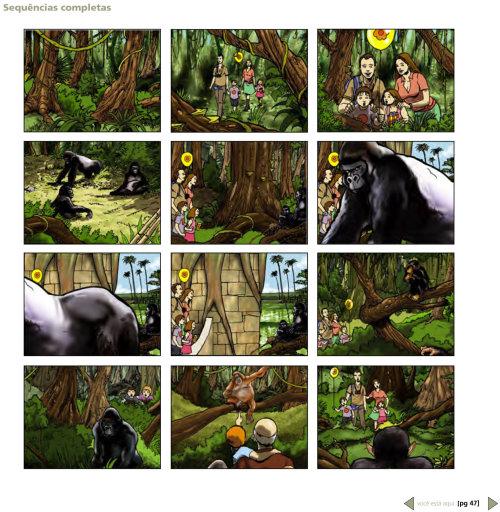 Storyboard da selva infantil
