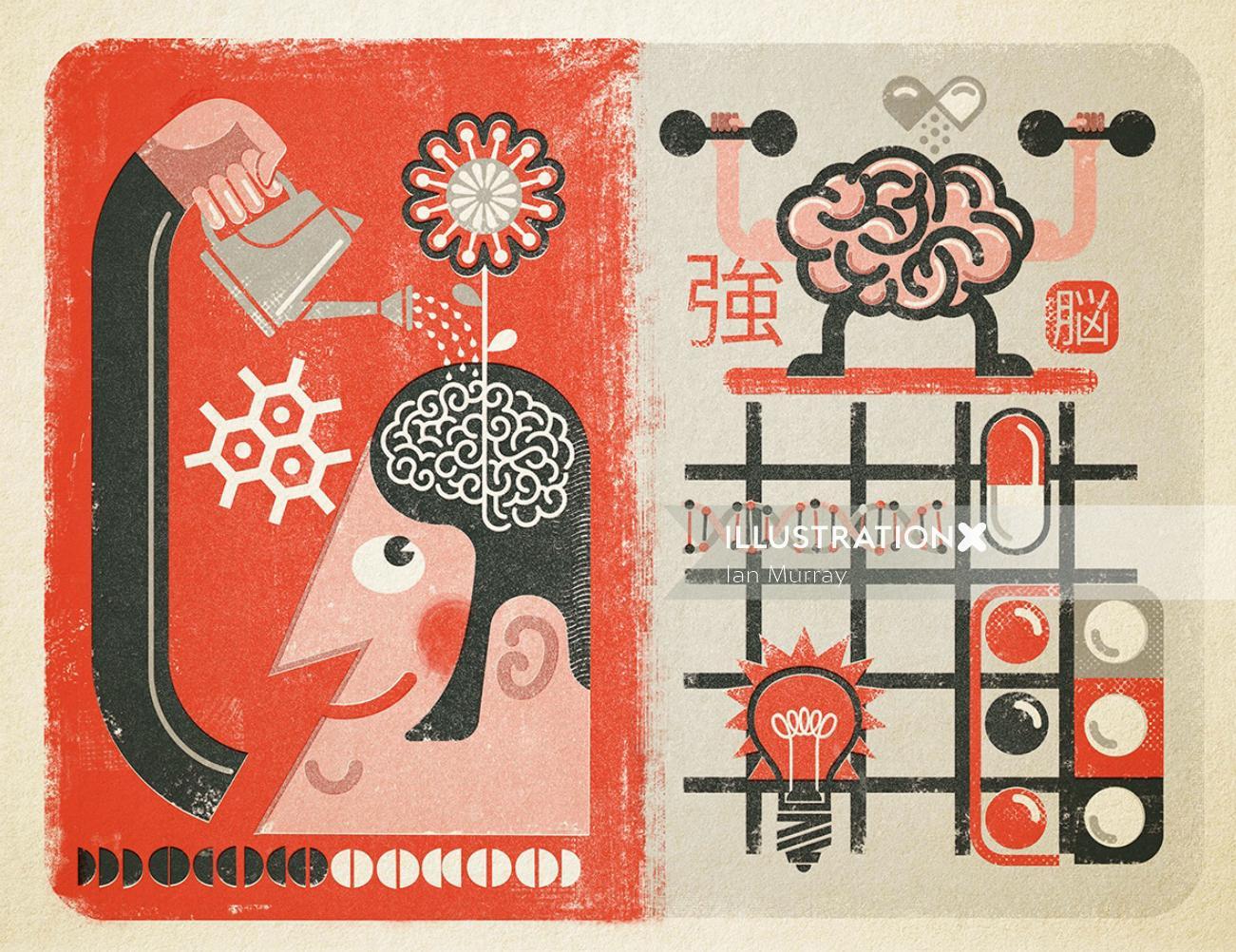 Nootropics smart drugs editorial illustration