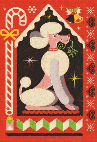 Christmas Poodle Clipart