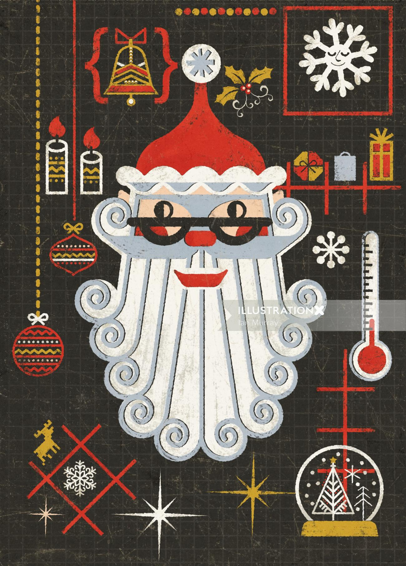 Vintage Santa In Retro Style