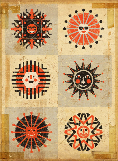 Sun faces conceptual icon design