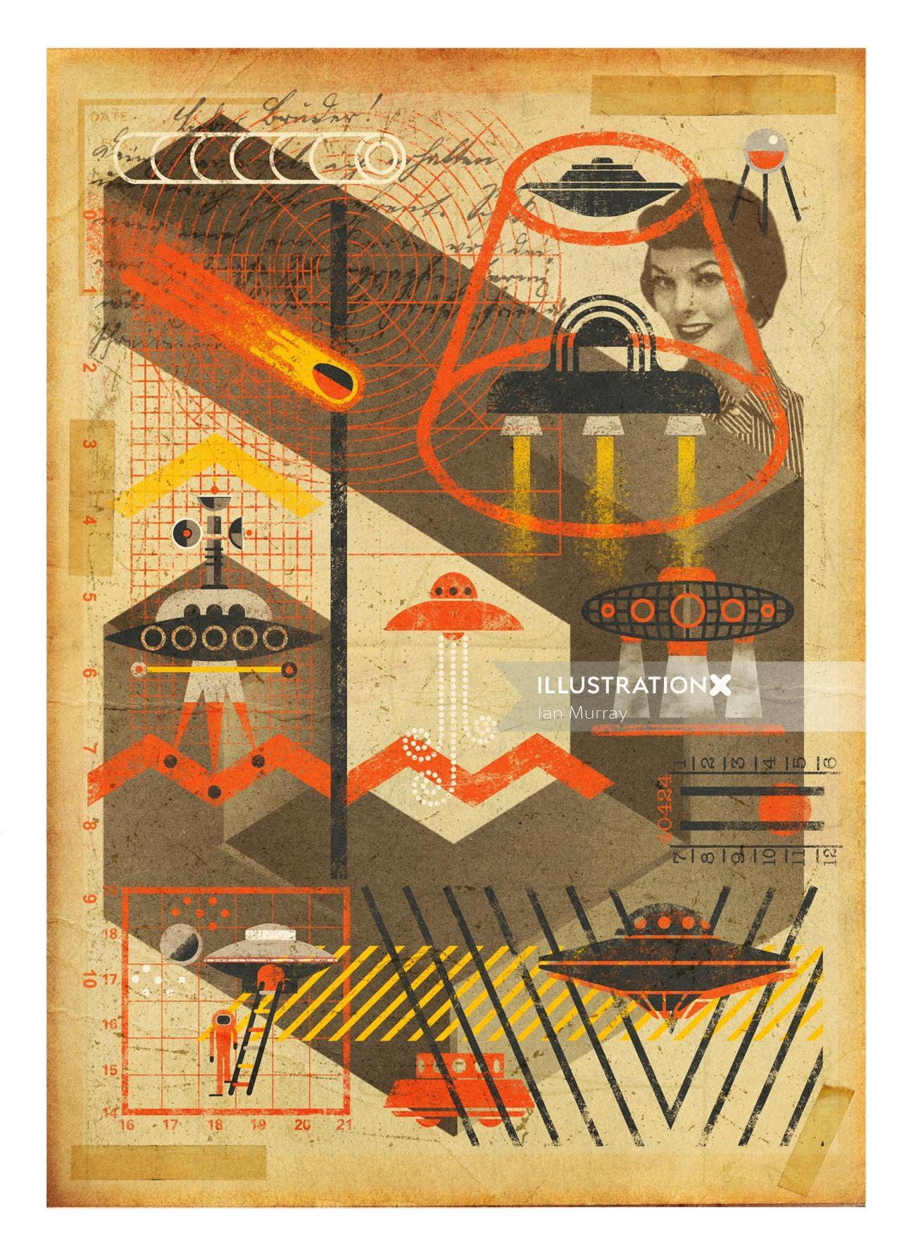 Conceptual UFO Archive Collage