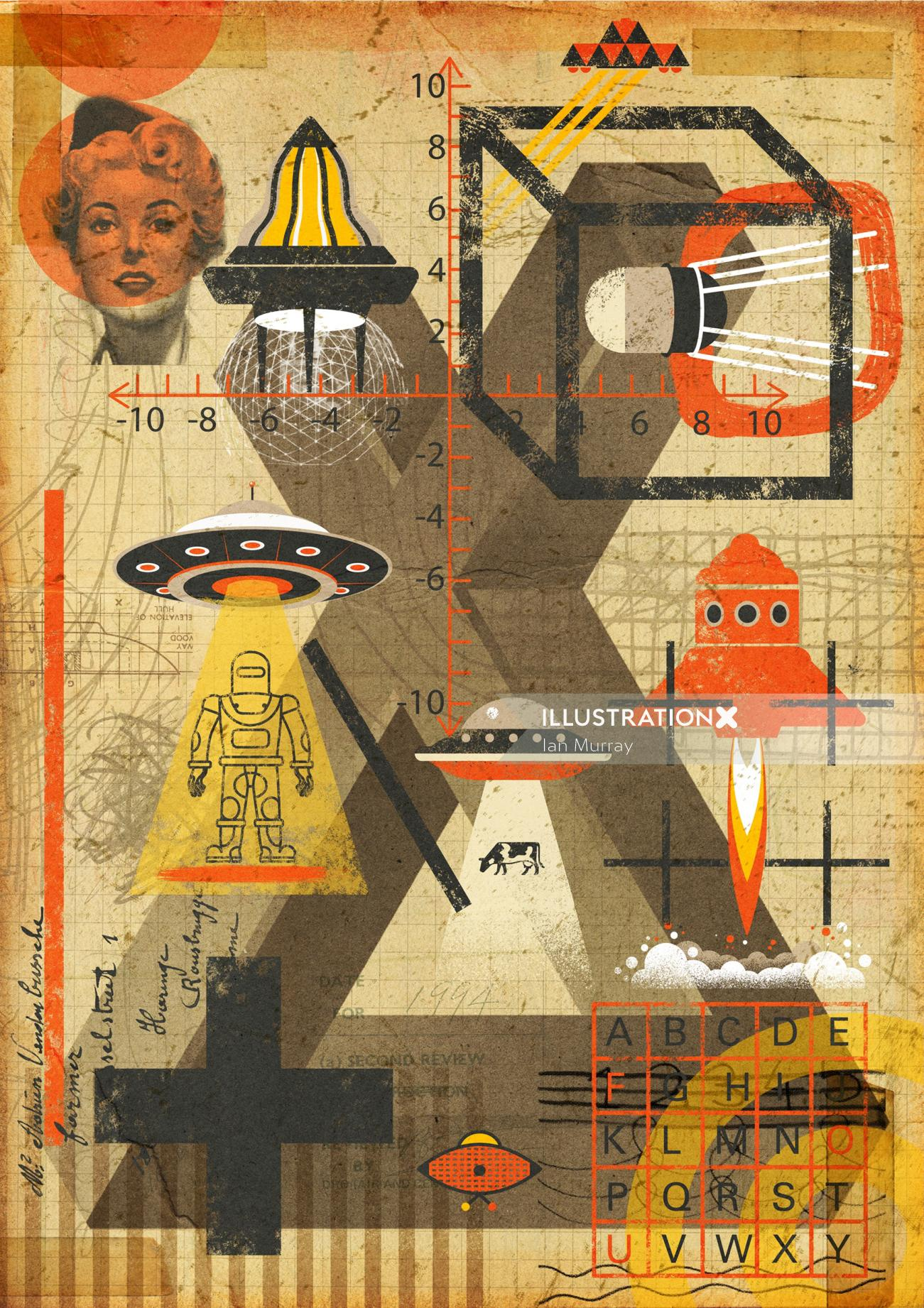 Conceptual Collage of UFO