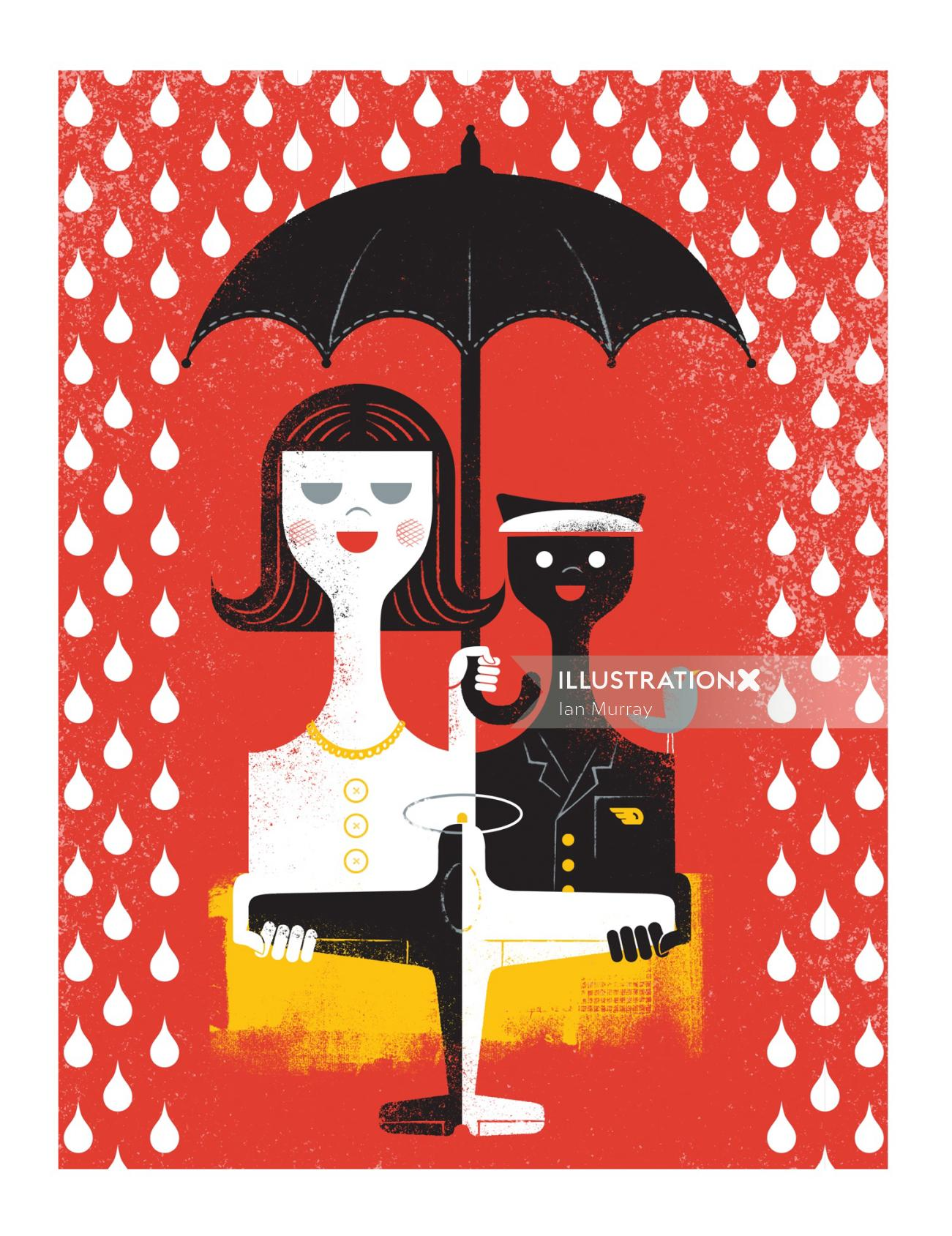 Semi abstract image of a girl with umbrella