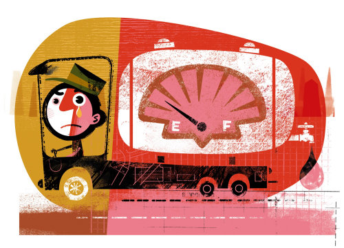 Shell truck graphic illustration
