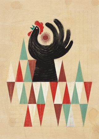 Cockerel retro illustration