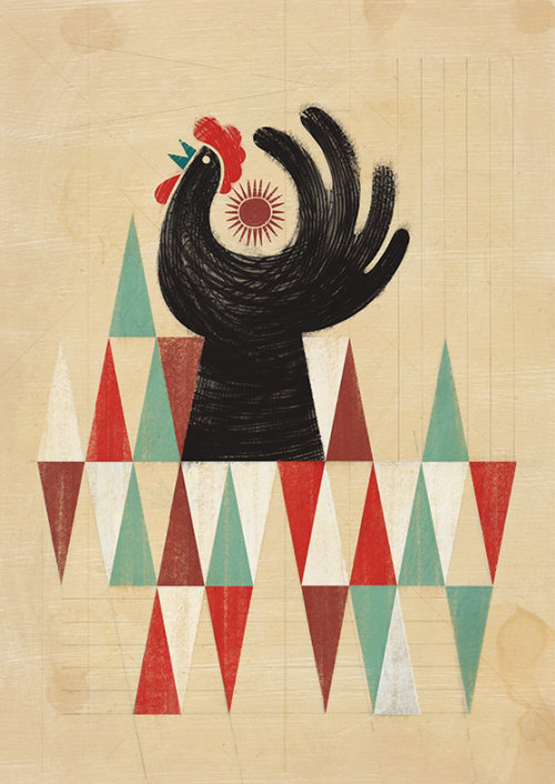 Cockerel retro illustration
