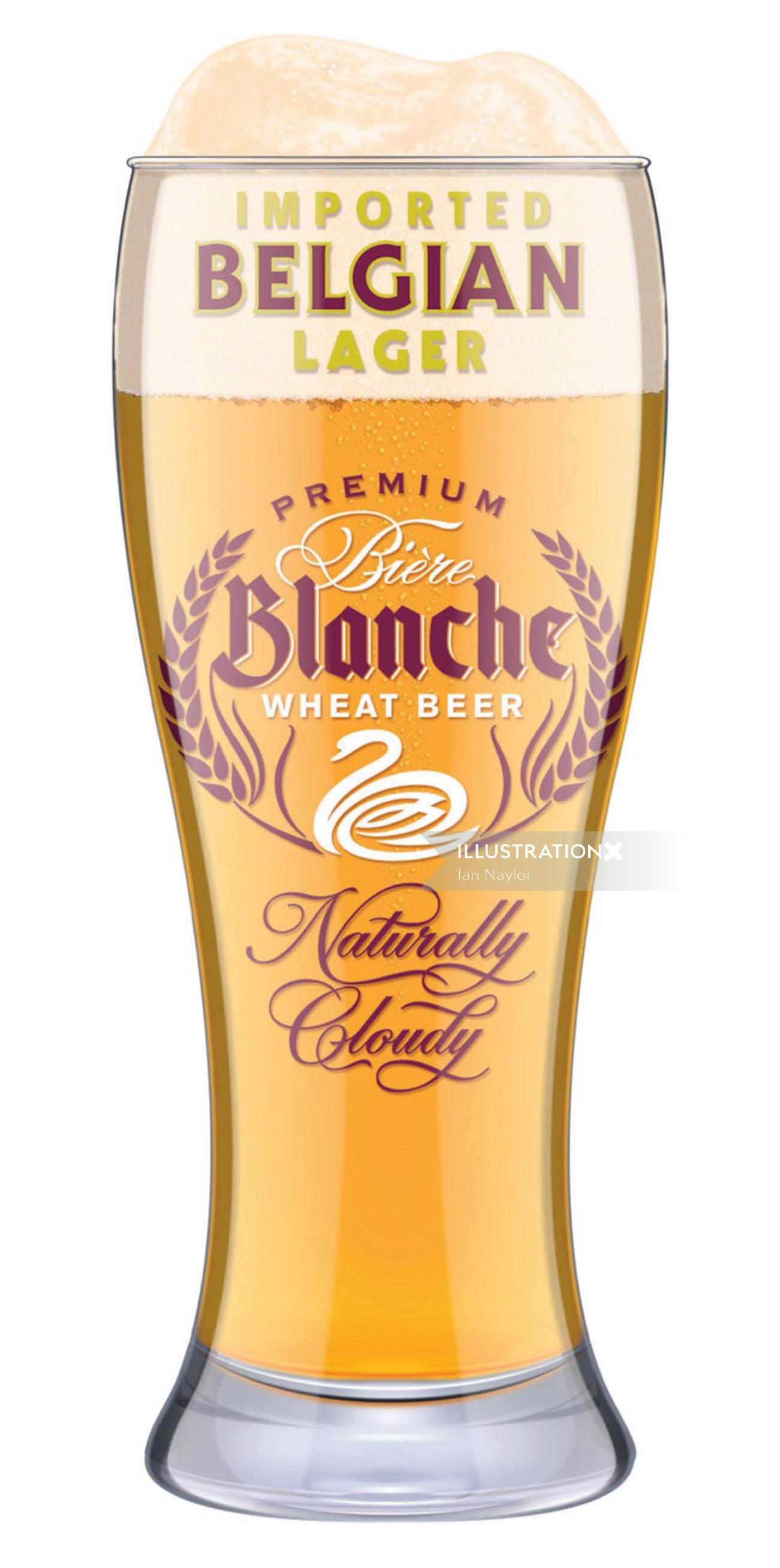 Graphic design of Blanche wheat beer