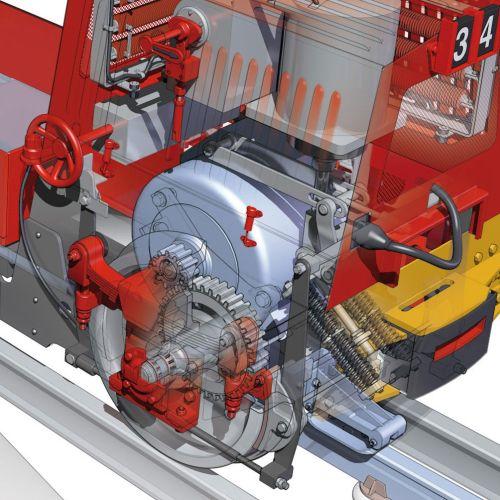 Train engine realistic illustration
