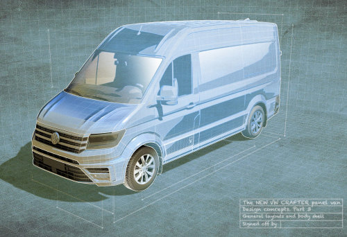 3D illustration of Compact van