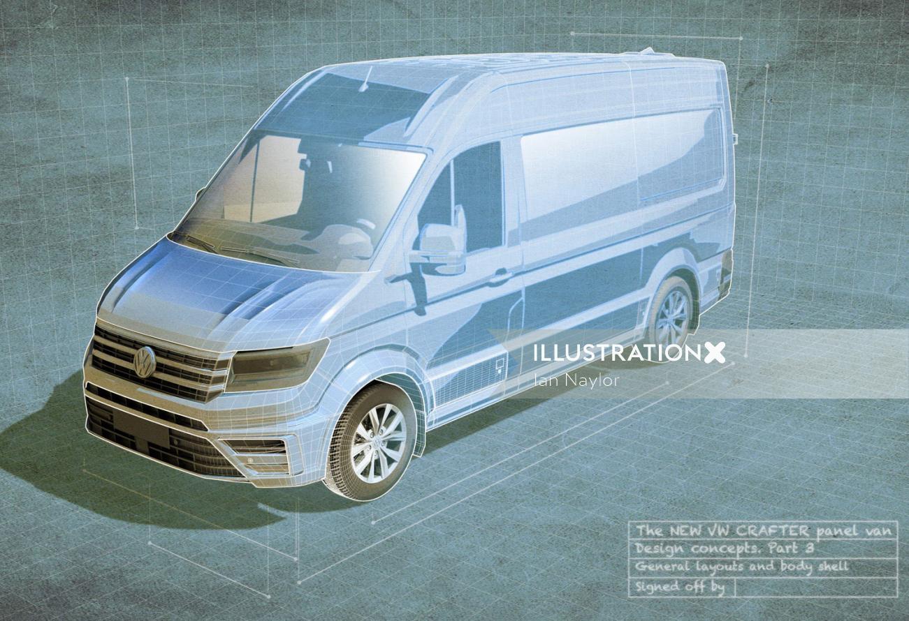 3D illustration of Compact van