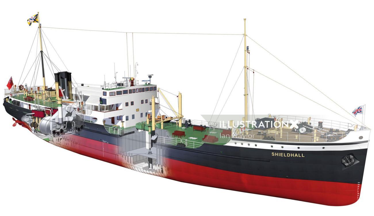3d Design of Steam ship