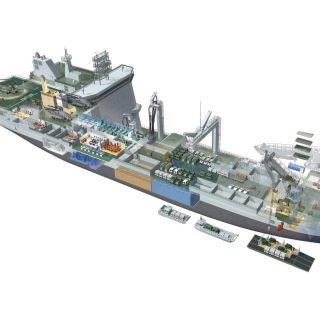 modern cut-away transport ship