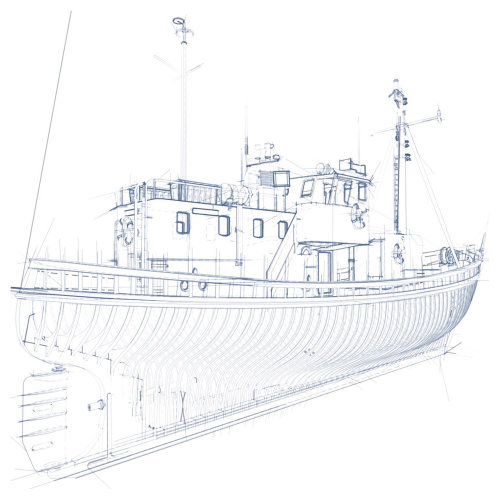 Line drawing of ship