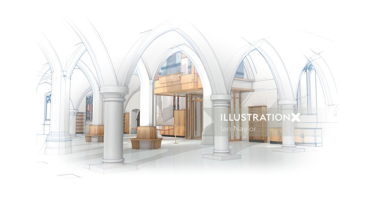 Architecture illustration of royal hall