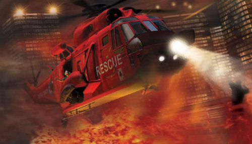 Helicopter fire building scene