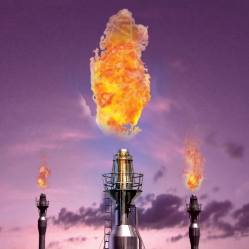 Qatar flare stack map