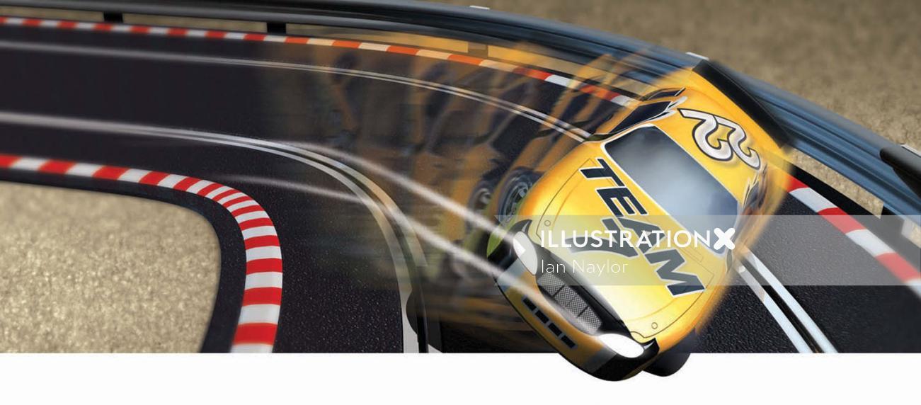 3d car on race track