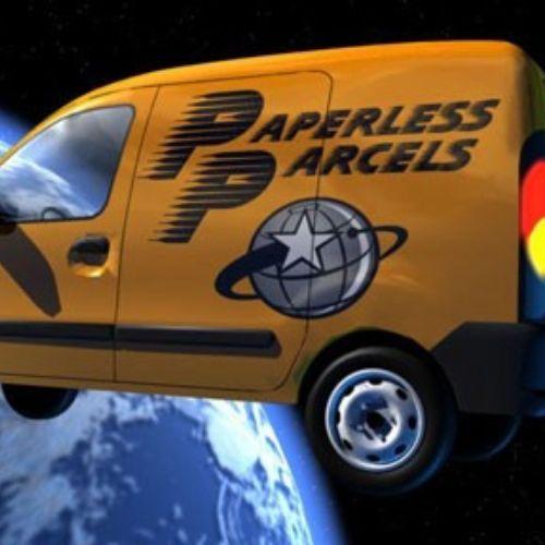An animation of a van hitting orbit