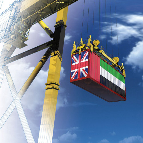 UAE/UK trade illustration by Ian Naylor
