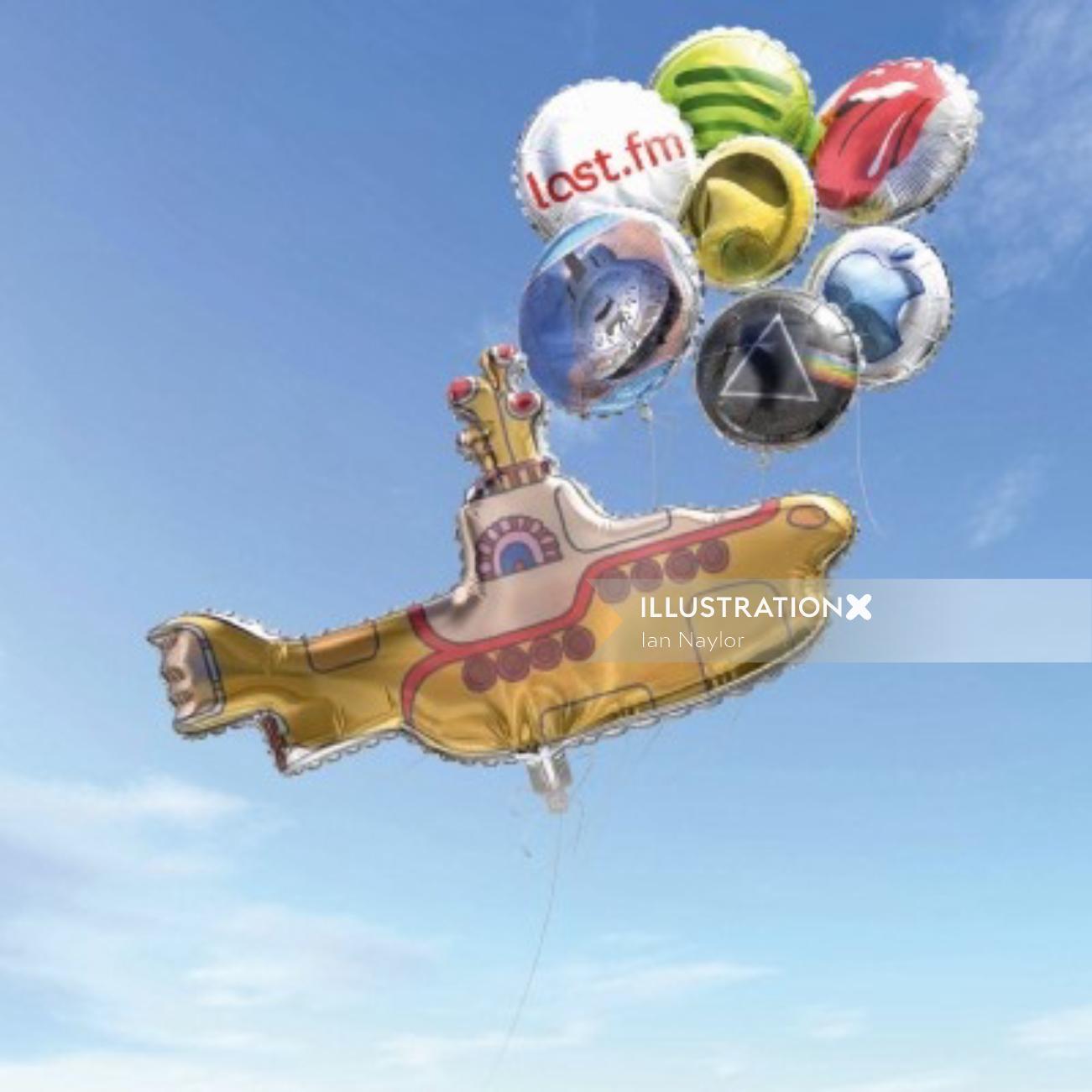 Contemporary art of balloon ship