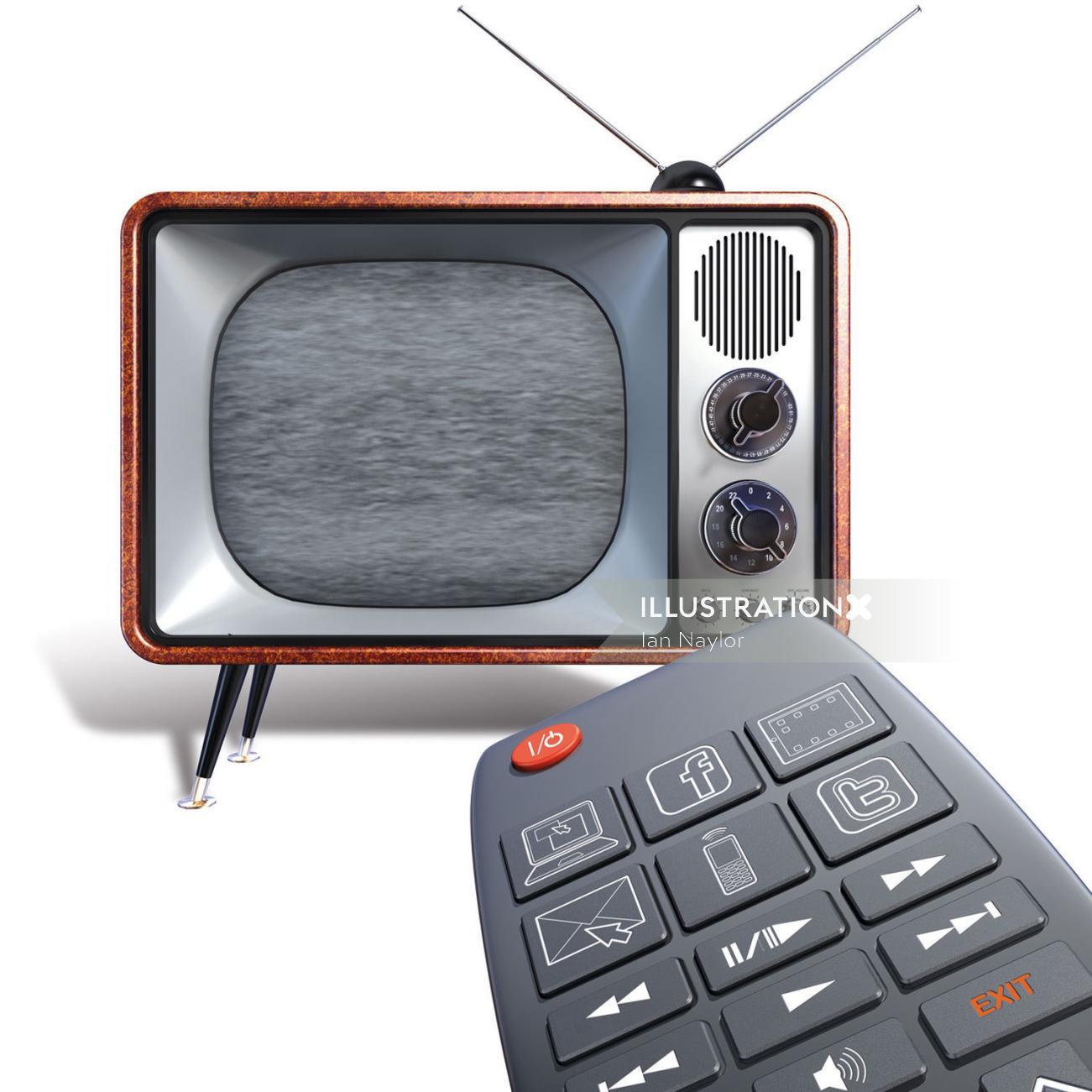 Vintage tv illustration by Ian Naylor