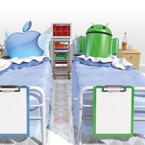 An illustration of hospital beds