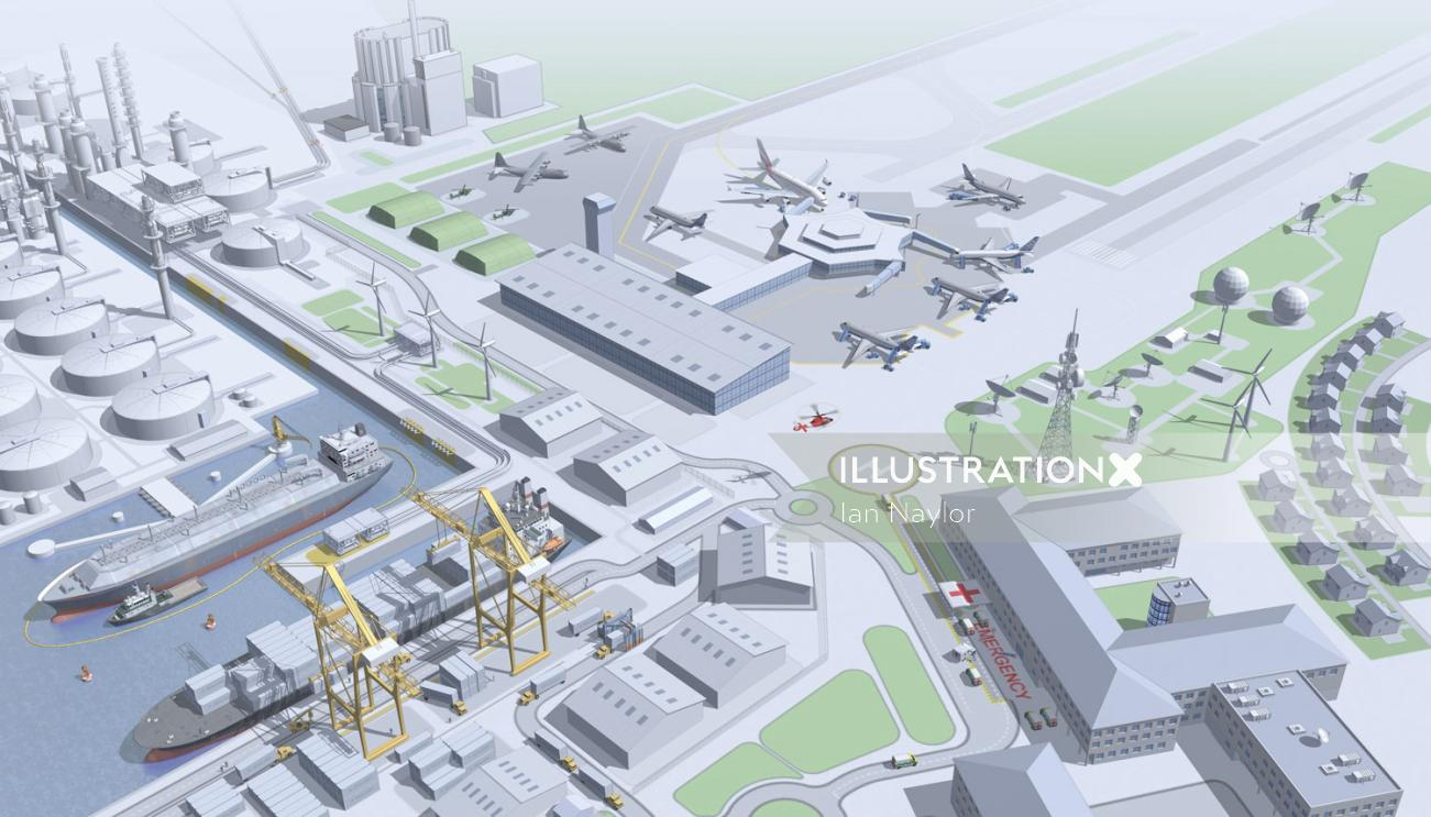 Airport illustration by Ian Naylor