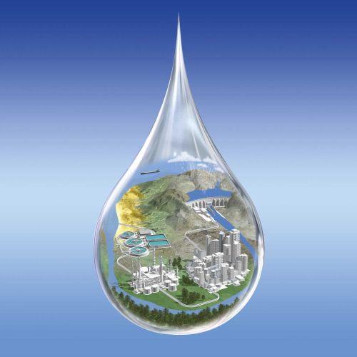 3d art of city in water drop