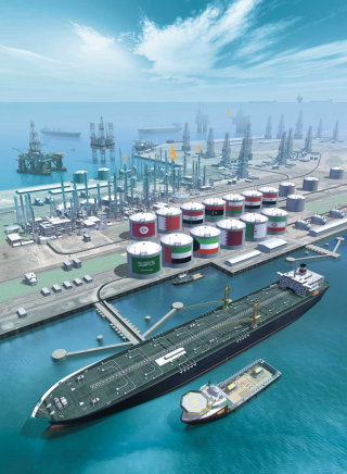 Oil port illustration | Technical style gallery
