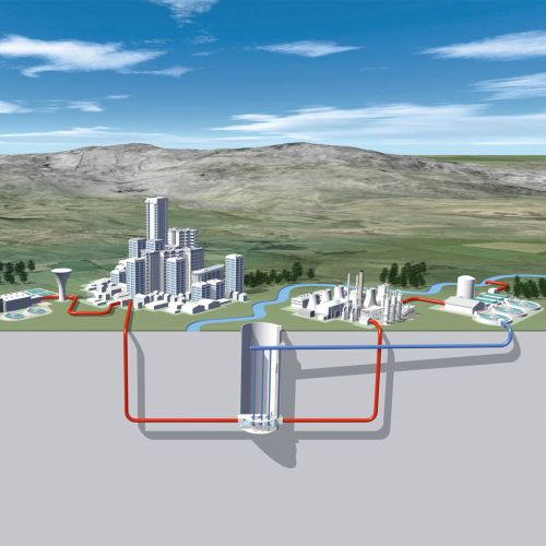 Remote City connected with water