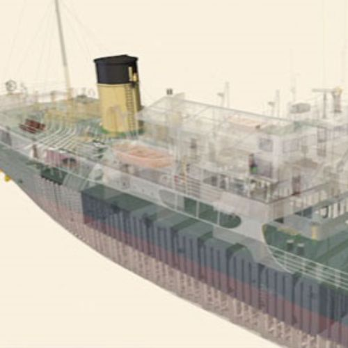 An animation of steam propulsion system of the steamship