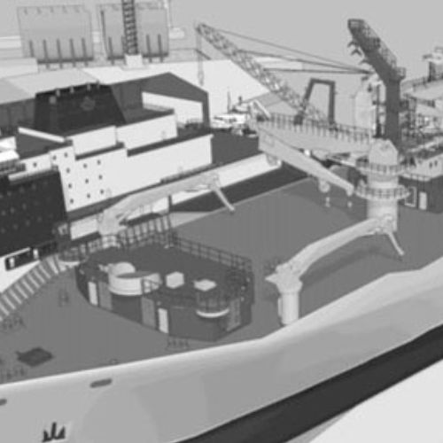 An animation of aerial view of a shipyard
