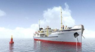 Big ship docked at harbour illustration