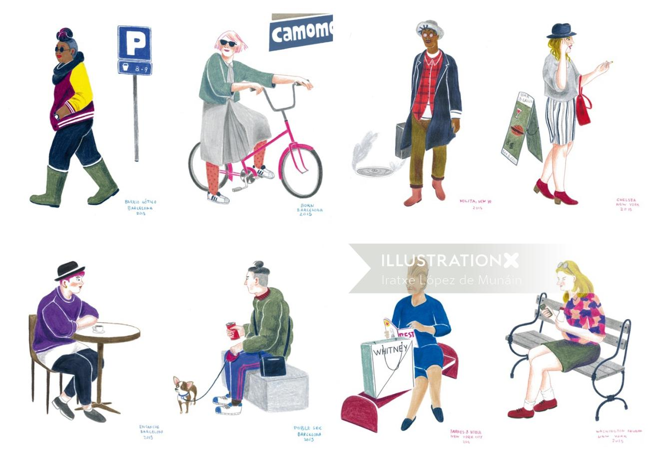 Illustration of People in New York
