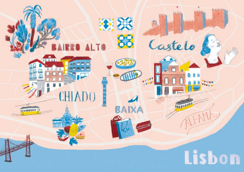 Ilustração do mapa de Lisboa