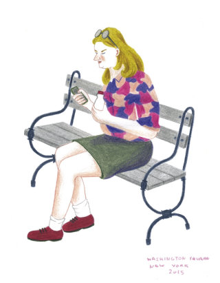 Female character sitting on chair illustration