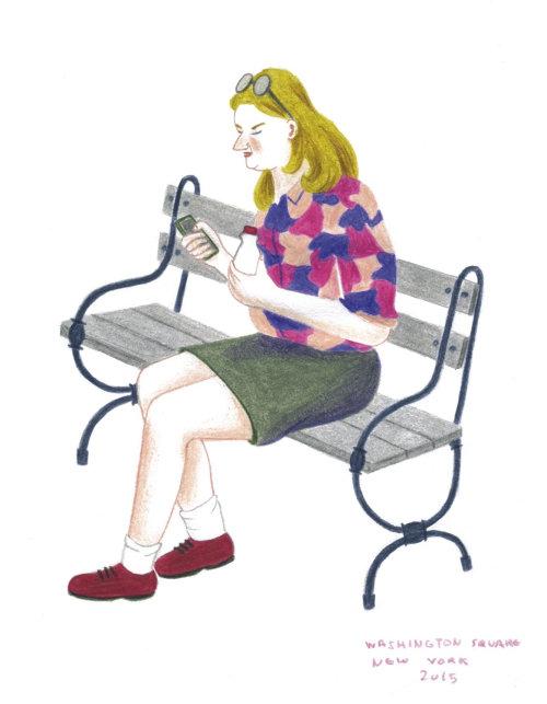 Personagem feminina sentado na ilustração de cadeira
