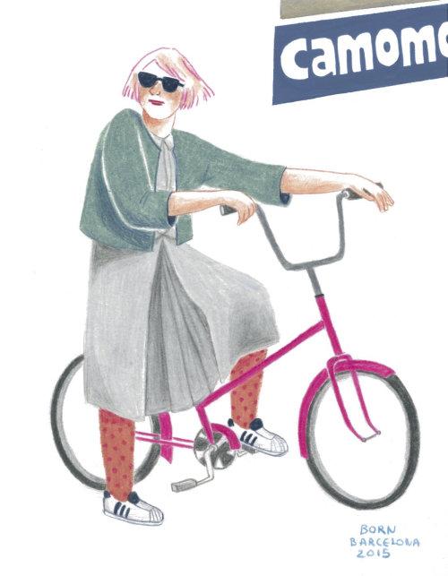 Ilustração de senhora com bicicleta