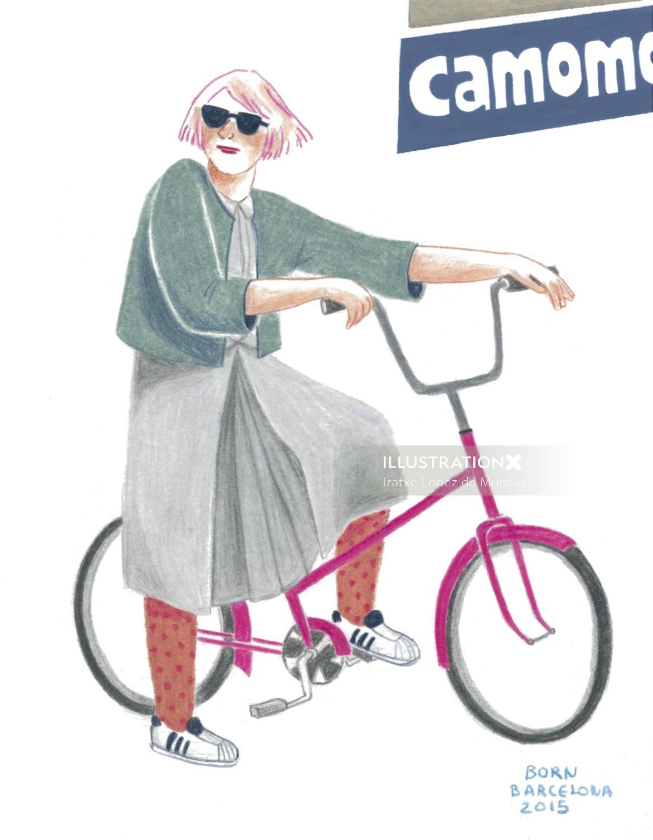 Illustration of lady with bicycle