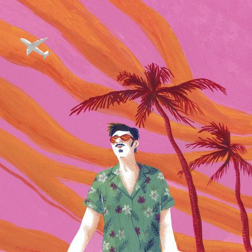 Ilustração de um homem com roupa de praia no verão
