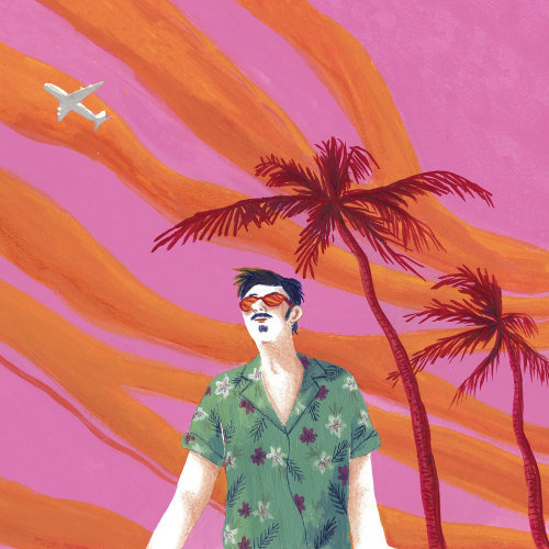 Illustration of a man in summer beach wear