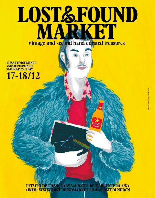 Design de cartazes para o mercado de achados e perdidos em Barcelona