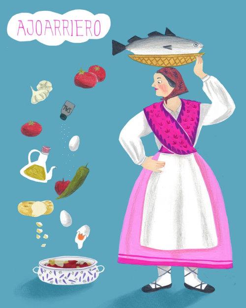 """Ilustração para um código de receita típica espanhola """"a la ajoarriero""""."""