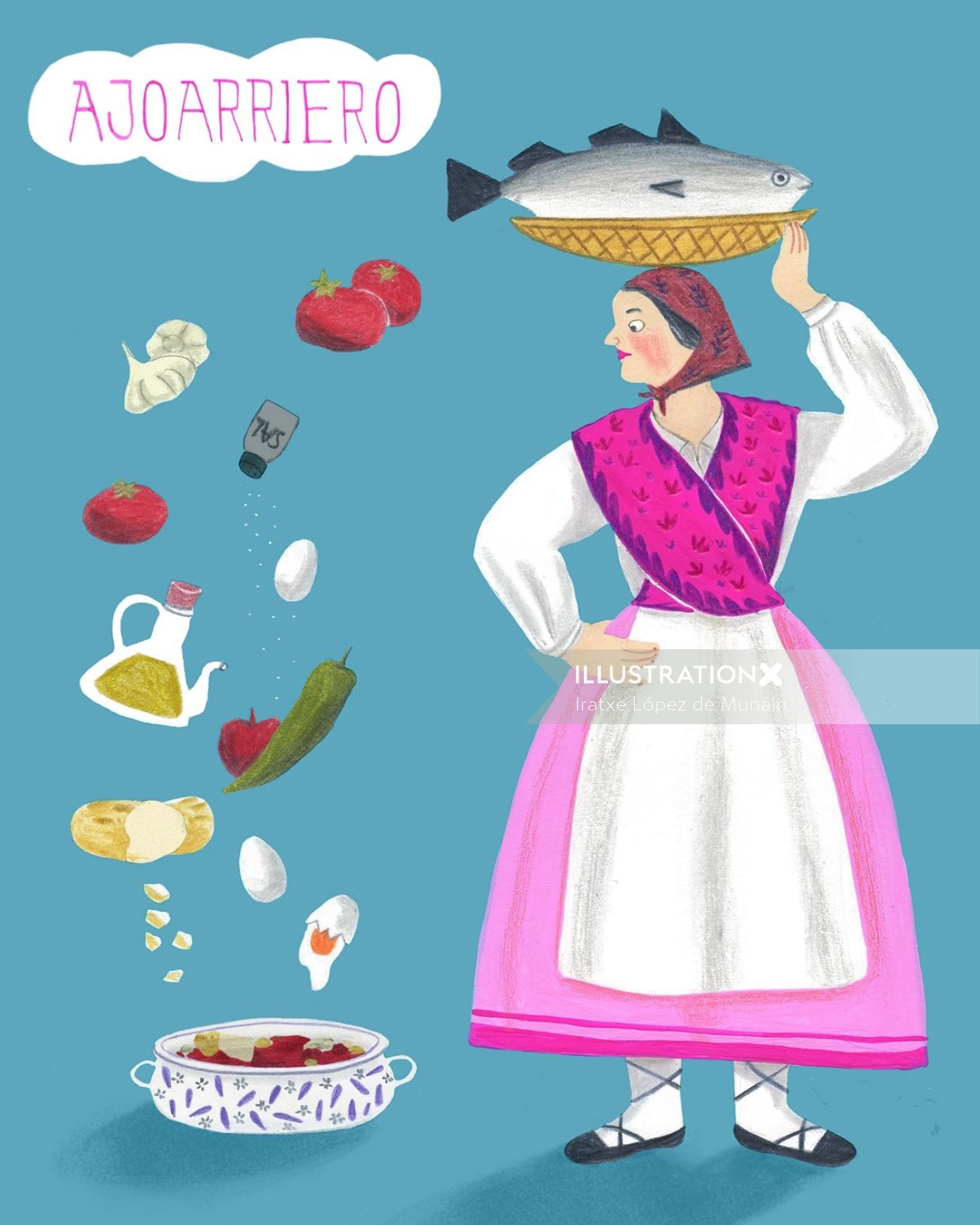 "Illustration for a Spanish tipical recipe code ""a la ajoarriero""."