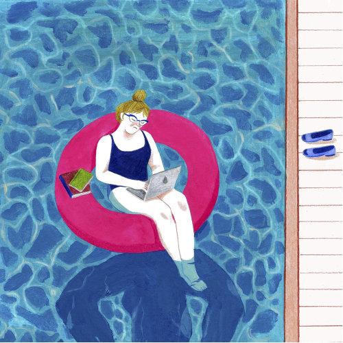 Ilustração de senhora trabalhando com o laptop na piscina