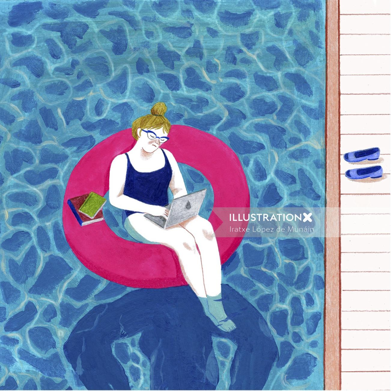 Illustration of lady working with laptop in swiming pool