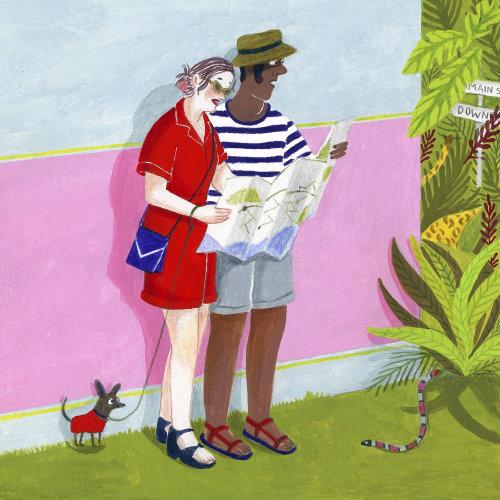 Ilustração de casal de férias