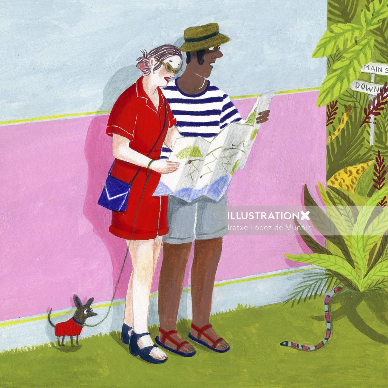 Illustration of couple on vacation