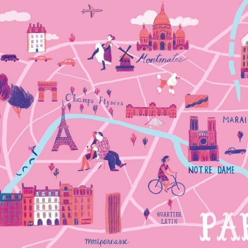 Paris map illustration